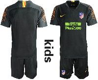 Youth 19-20 Soccer Atletico De Madrid Club ( Custom Made ) Black Goalkeeper Short Sleeve Suit Jersey
