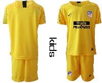 Youth 19-20 Soccer Atletico De Madrid Club ( Custom Made ) Yellow Goalkeeper Short Sleeve Suit Jersey