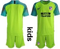 Youth 19-20 Soccer Atletico De Madrid Club ( Custom Made ) Green Goalkeeper Short Sleeve Suit Jersey