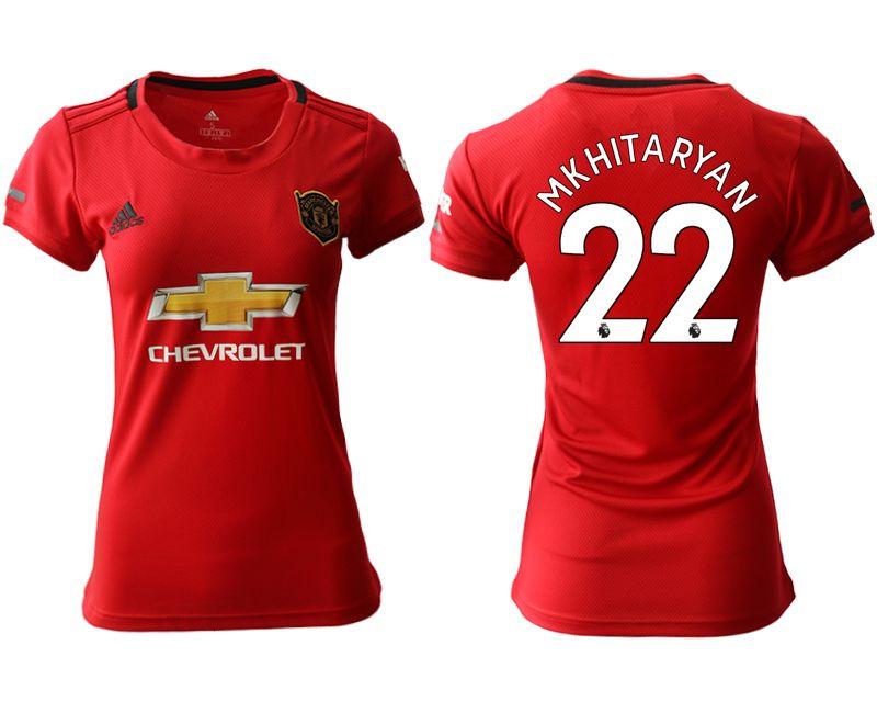 Women 19-20 Soccer Arsenal Club #22 Mkhitaryan Red Home Short Sleeve Jersey