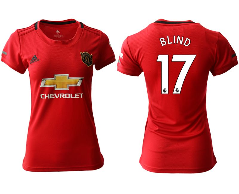 Women 19-20 Soccer Arsenal Club #17 Blind Red Home Short Sleeve Jersey