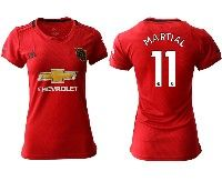 Women 19-20 Soccer Arsenal Club #11 Martial Red Home Short Sleeve Jersey