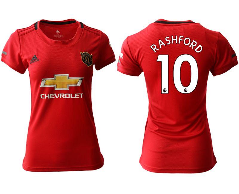 Women 19-20 Soccer Arsenal Club #10 Rashford Red Home Short Sleeve Jersey