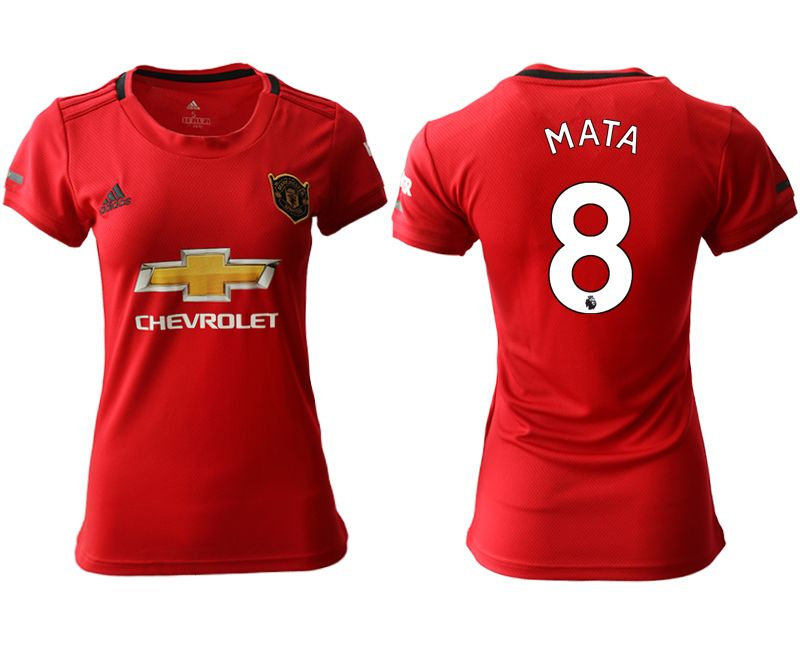 Women 19-20 Soccer Arsenal Club #8 Mata Red Home Short Sleeve Jersey