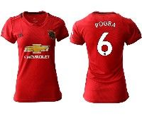 Women 19-20 Soccer Arsenal Club #6 Pogba Red Home Short Sleeve Jersey