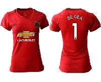 Women 19-20 Soccer Arsenal Club #1 De Gea Red Home Short Sleeve Jersey