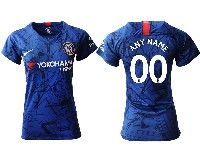 Women 19-20 Soccer Chelsea Club ( Custom Made ) Blue Home Short Sleeve Jersey