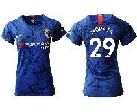 Women 19-20 Soccer Chelsea Club #29 Morata Blue Home Short Sleeve Jersey