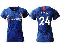 Women 19-20 Soccer Chelsea Club #24 Cahill Blue Home Short Sleeve Jersey