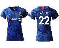 Women 19-20 Soccer Chelsea Club #22 Willian Blue Home Short Sleeve Jersey