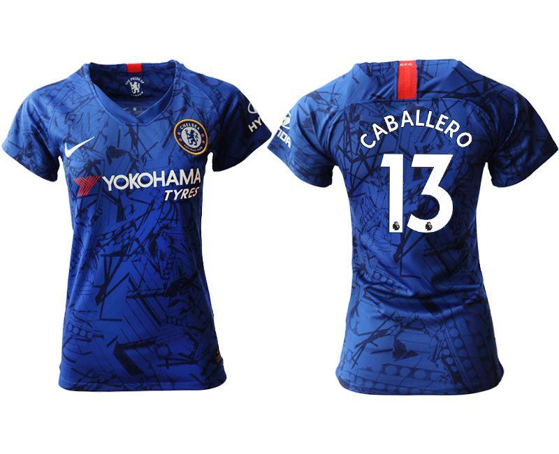 Women 19-20 Soccer Chelsea Club #13 Caballero Blue Home Short Sleeve Jersey