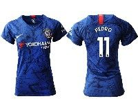Women 19-20 Soccer Chelsea Club #11 Pedro Blue Home Short Sleeve Jersey