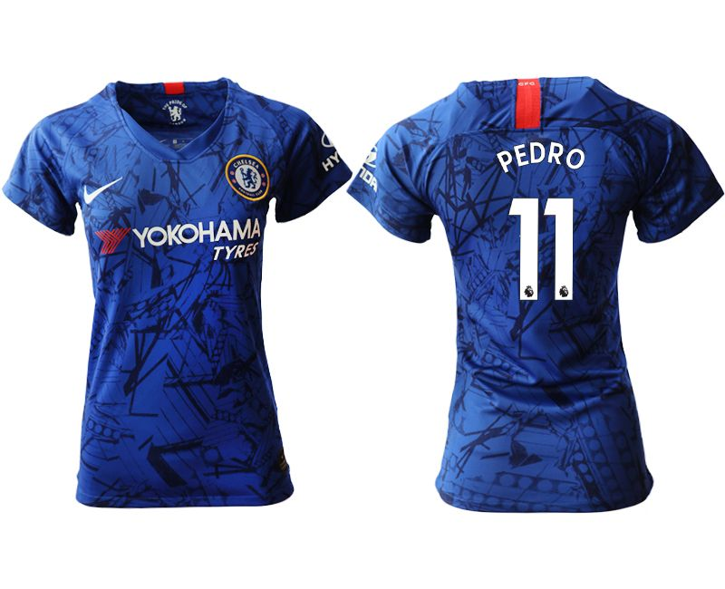 Women 19-20 Soccer Chelsea Club #11 Pedro Blue Home Short Sleeve Jersey