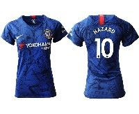 Women 19-20 Soccer Chelsea Club #10 Hazard Blue Home Short Sleeve Jersey