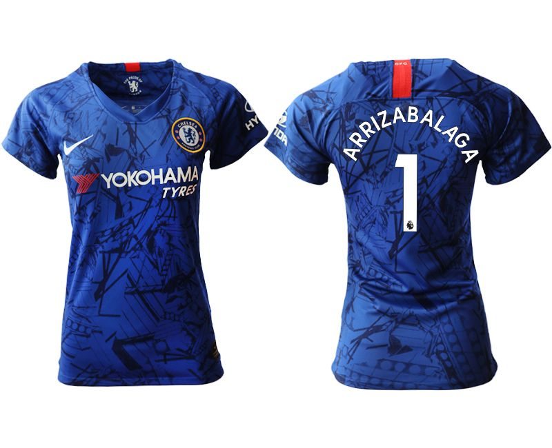 Women 19-20 Soccer Chelsea Club #1 Arrizabalaga Blue Home Short Sleeve Jersey