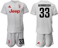 Mens 19-20 Soccer Juventus Club #33 Bernardeschi White Away Short Sleeve Suit Jersey