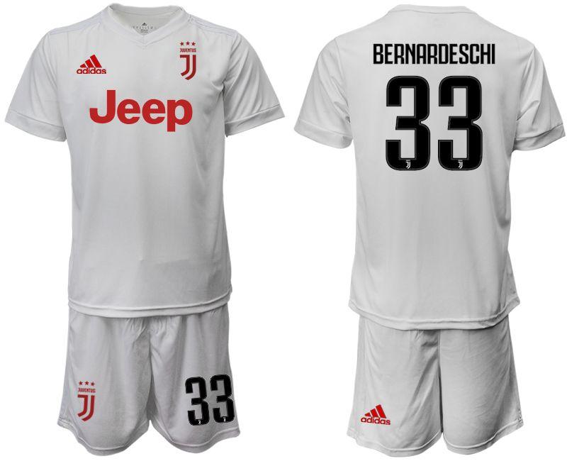 Mens 19-20 Soccer Juventus Club #33 Bernardeschi White Away Short Sleeve Suit Jersey