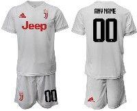 Mens 19-20 Soccer Juventus Club ( Custom Made ) White Away Short Sleeve Suit Jersey