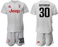 Mens 19-20 Soccer Juventus Club #30 Bentancur White Away Short Sleeve Suit Jersey