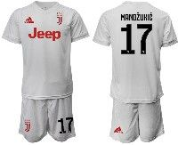 Mens 19-20 Soccer Juventus Club #17 Mandzukic White Away Short Sleeve Suit Jersey