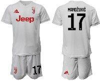 Mens 19-20 Soccer Juventus Club #17 Mandzukic White Away Short Sleeve Suit Jersey