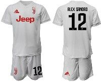 Mens 19-20 Soccer Juventus Club #12 Alex Sandro White Away Short Sleeve Suit Jersey