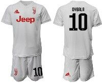 Mens 19-20 Soccer Juventus Club #10 Dybala White Away Short Sleeve Suit Jersey