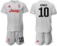 Mens 19-20 Soccer Juventus Club #10 Dybala White Away Short Sleeve Suit Jersey