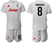 Mens 19-20 Soccer Juventus Club #8 Marchisio White Away Short Sleeve Suit Jersey