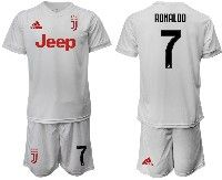 Mens 19-20 Soccer Juventus Club #7 Ronaldo White Away Short Sleeve Suit Jersey