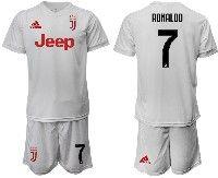 Mens 19-20 Soccer Juventus Club #7 Ronaldo White Away Short Sleeve Suit Jersey