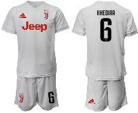 Mens 19-20 Soccer Juventus Club #6 Khedira White Away Short Sleeve Suit Jersey