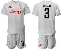 Mens 19-20 Soccer Juventus Club #3 Chiellini White Away Short Sleeve Suit Jersey