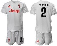 Mens 19-20 Soccer Juventus Club #2 De Sciglio White Away Short Sleeve Suit Jersey
