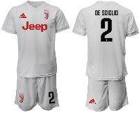 Mens 19-20 Soccer Juventus Club #2 De Sciglio White Away Short Sleeve Suit Jersey