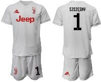 Mens 19-20 Soccer Juventus Club #1 Szczesny White Away Short Sleeve Suit Jersey