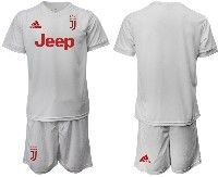 Mens 19-20 Soccer Juventus Club ( Blank ) White Away Short Sleeve Suit Jersey