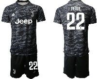 Mens 19-20 Soccer Juventus Club #22 Perin Black Goalkeeper Short Sleeve Suit Jersey