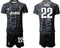 Mens 19-20 Soccer Juventus Club #22 Perin Black Goalkeeper Short Sleeve Suit Jersey