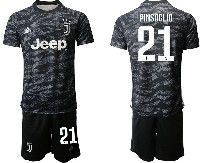 Mens 19-20 Soccer Juventus Club #21 Pinsoglio Black Goalkeeper Short Sleeve Suit Jersey