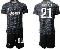 Mens 19-20 Soccer Juventus Club #21 Pinsoglio Black Goalkeeper Short Sleeve Suit Jersey