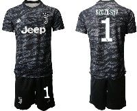Mens 19-20 Soccer Juventus Club #1 Szczesny Black Goalkeeper Short Sleeve Suit Jersey