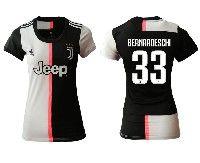 Women 19-20 Soccer Juventus Club #33 Bernardeschi White And Black Home Short Sleeve Jersey