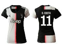 Women 19-20 Soccer Juventus Club #11 D. Costa White And Black Home Short Sleeve Jersey