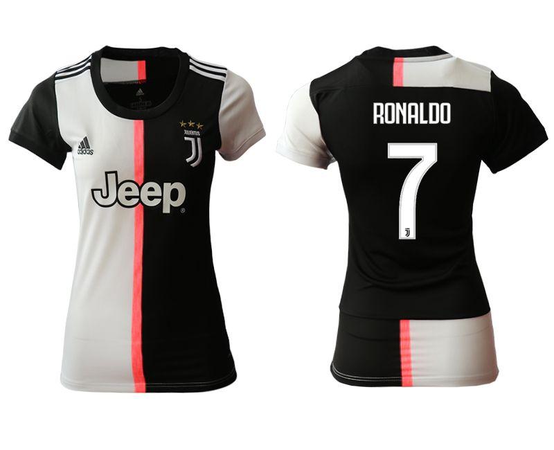 Women 19-20 Soccer Juventus Club #7 Ronaldo White And Black Home Short Sleeve Jersey