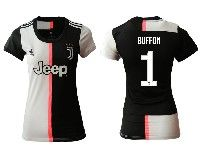 Women 19-20 Soccer Juventus Club #1 Buffon White And Black Home Short Sleeve Jersey