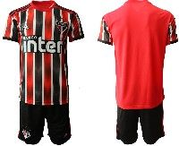Mens 19-20 Soccer Club Sao Paulo (custom Made) Red Black Stripe Home Short Sleeve Suit Jersey