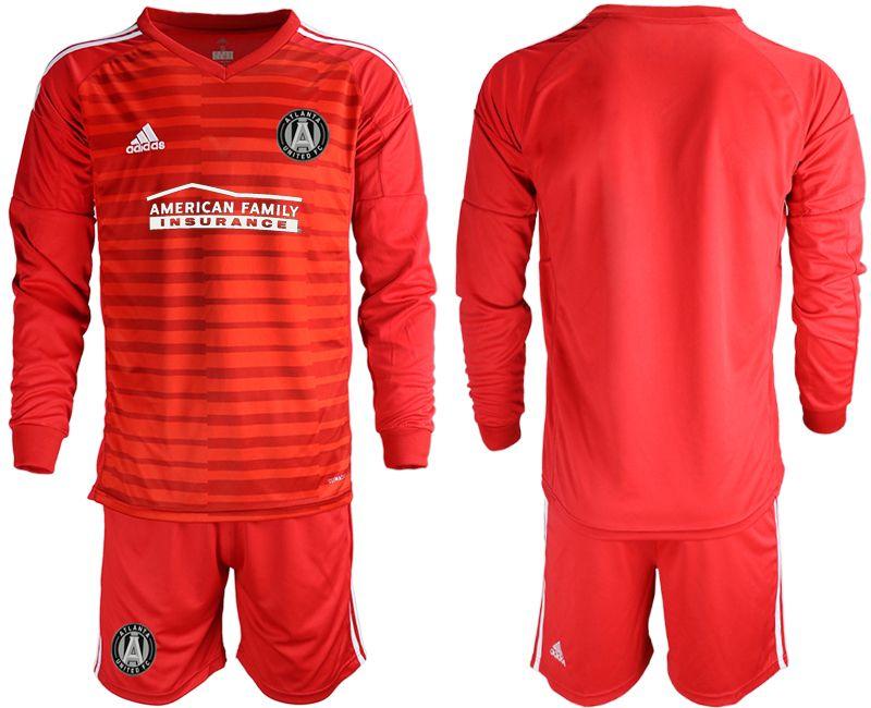 Mens 19-20 Soccer Atlanta United Club Custom Made Red Stripe Long Sleeve Suit Jersey