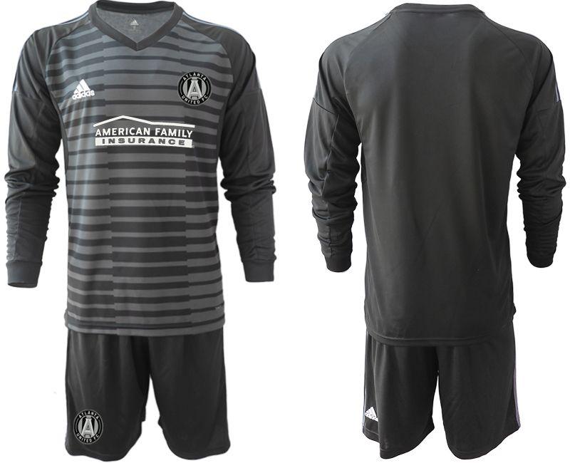 Mens 19-20 Soccer Atlanta United Club Custom Made Black Stripe Long Sleeve Suit Jersey