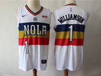 Mens New Orleans Hornets #1 Williamson White Playoff Award Edition Swingman Jersey